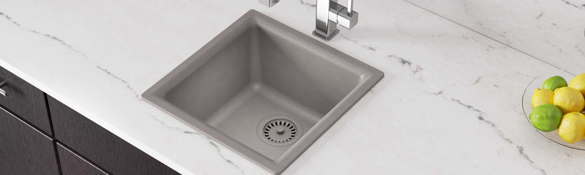 Elkay Quartz Classic 15-3/4in x 15-3/4in x 7-11/16in Single Bowl Dual Mount Bar Sink Greige