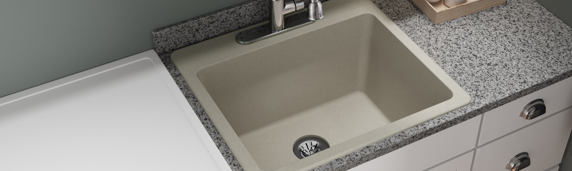 Elkay Quartz Classic 25in x 22in x 11-13/16in Drop-in Laundry Sink with Perfect Drain Putty