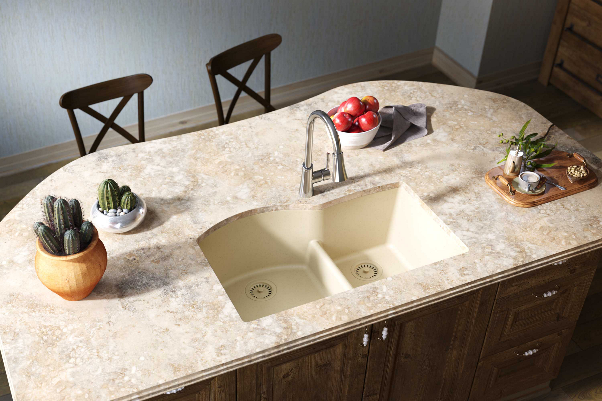 Elkay Quartz Classic 33in x 22in x 10in Offset 60/40 Double Bowl Undermount Sink with Aqua Divide Sand