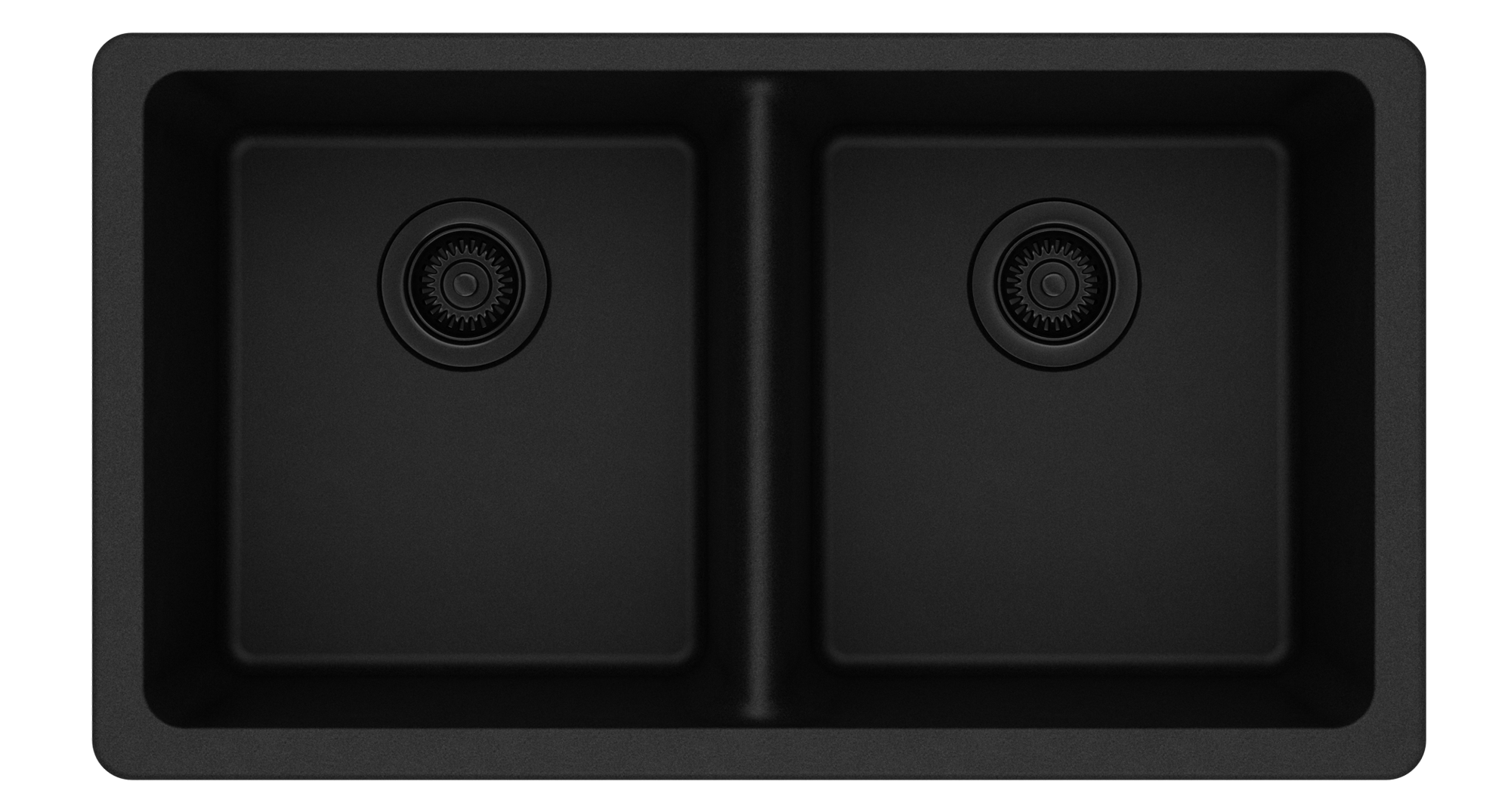 Elkay Quartz Classic 33in x 18-1/2in x 9-1/2in Equal Double Bowl Undermount Sink Black