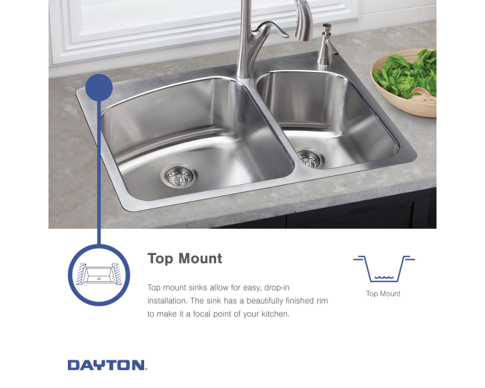 Dayton Stainless Steel 33 X 22 X 8 1 16 Equal Double Bowl Drop In Sink