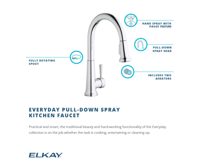 Elkay Everyday Single Hole Deck Mount Kitchen Faucet With Pull Down Spray Forward Only Lever Handle,Colors That Go With Light Purple Clothes