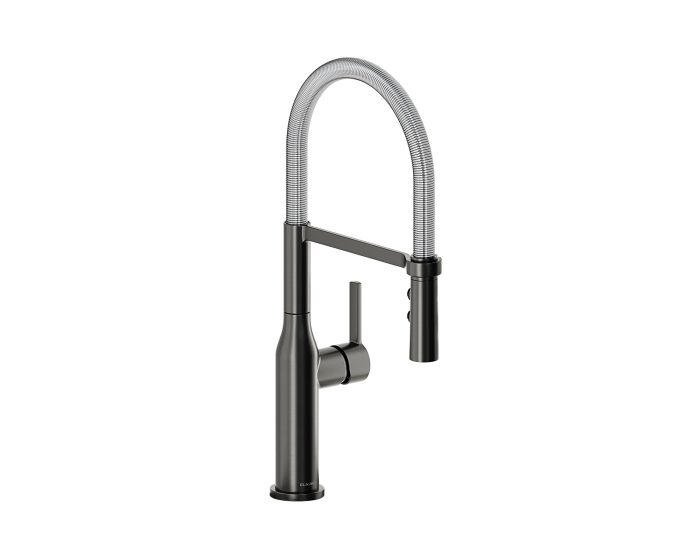 Elkay Avado Single Hole Kitchen Faucet With Semi Professional Spout And Forward Only Lever Handle Black Stainless And Chrome