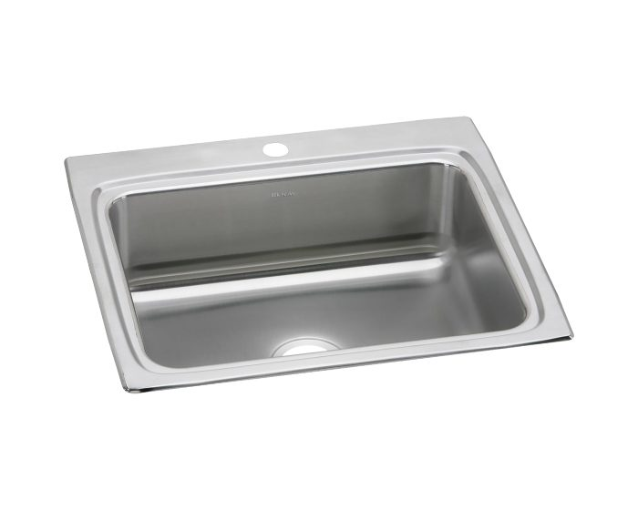 Elkay Lustertone Classic Stainless Steel 25 X 22 X 8 1 8 Single Bowl Drop In Sink With Quick Clip