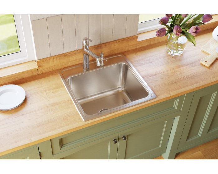 Elkay Lustertone Classic Stainless Steel 22 X 22 X 12 1 8 Single Bowl Drop In Sink With Quick Clip