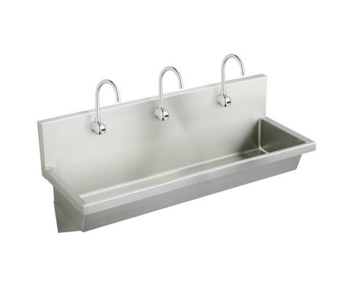Elkay Stainless Steel 60 X 20 X 8 Wall Hung Multiple Station Hand Wash Sink Kit