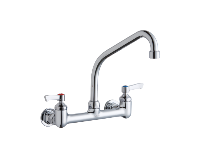Elkay Foodservice 8 Centerset Wall Mount Faucet With 8 High Arc Spout 2 Lever Handles 1 2in Offset Inlets Chrome