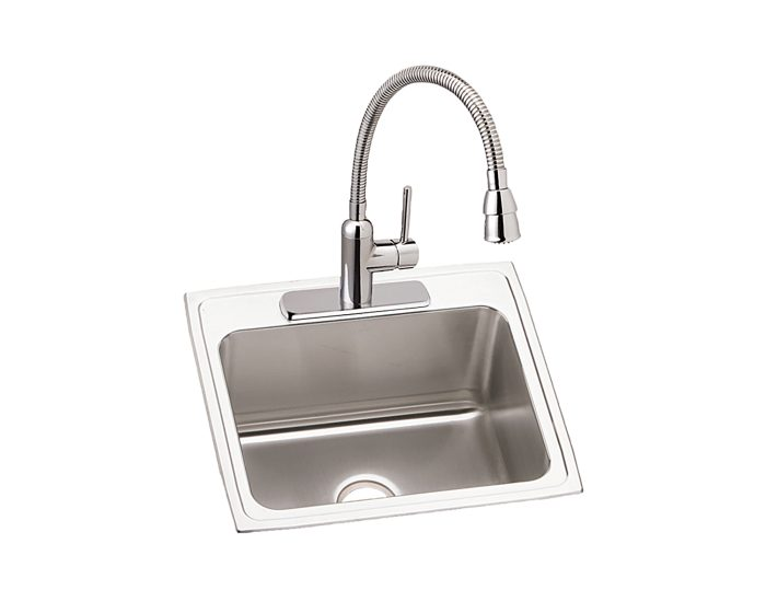 Elkay Lustertone Classic Stainless Steel 25 X 22 X 10 3 8 Single Bowl Drop In Sink And Faucet Kit