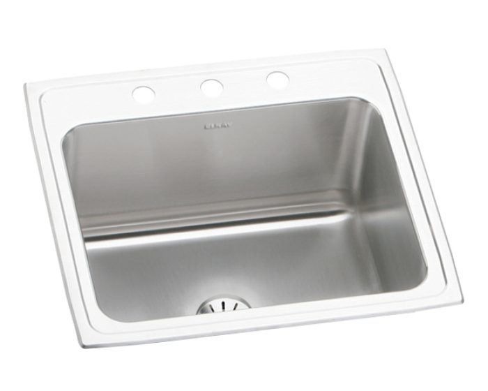 Elkay Lustertone Classic Stainless Steel 25 X 22 X 10 3 8 Single Bowl Drop In Sink With Perfect Drain