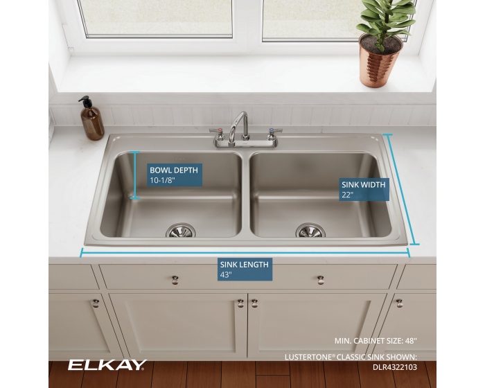 Elkay DLR4322103 Lustertone Classic Equal Double Bowl Drop-in Stainless Steel Sink