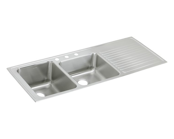Elkay Lustertone Classic Stainless Steel 54 X 22 X 10 Offset Double Bowl Drop In Sink With Drainboard