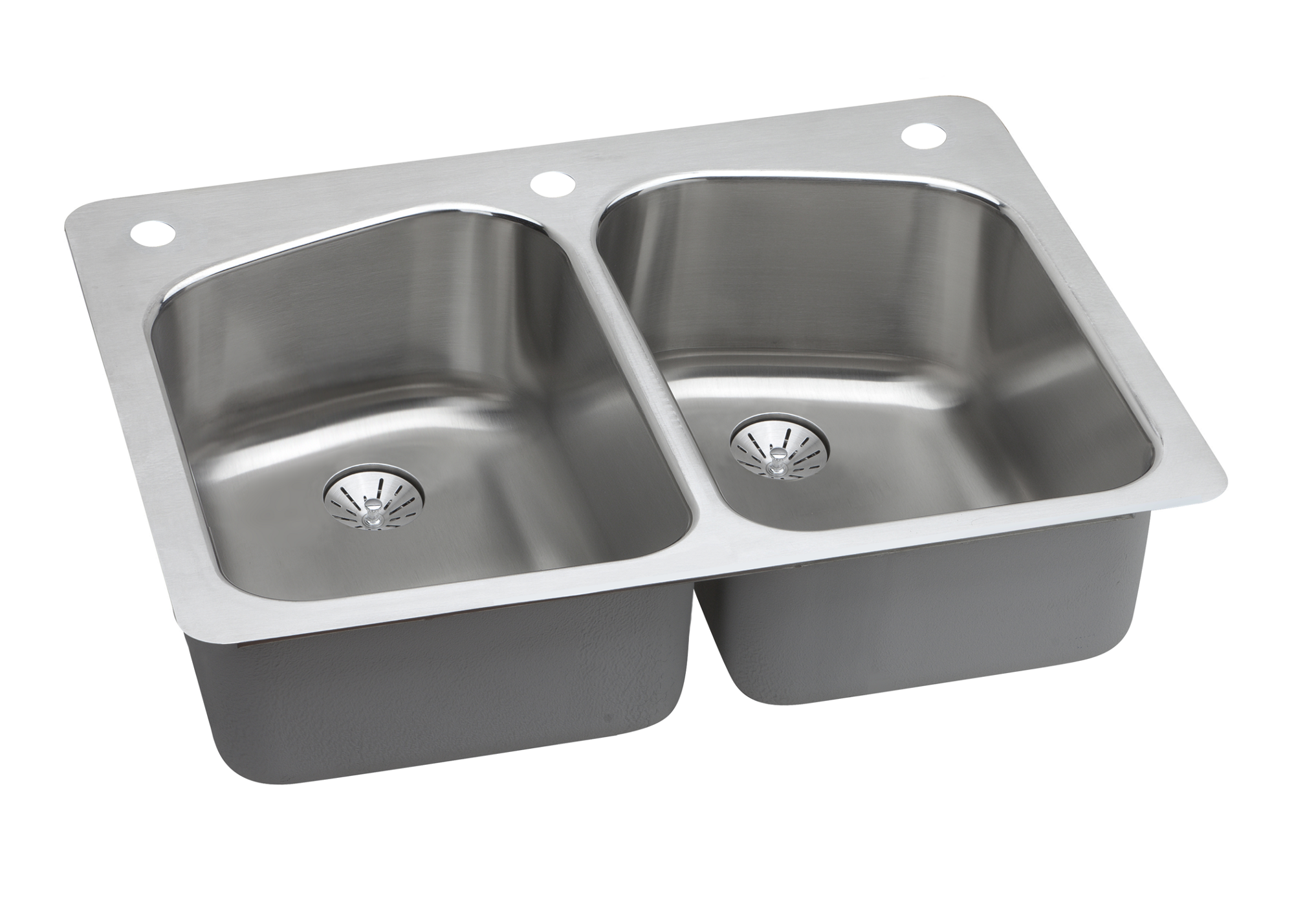 Elkay Lustertone Classic Stainless Steel 33 X 22 X 9 Equal Double Bowl Dual Mount Sink With Perfect Drain